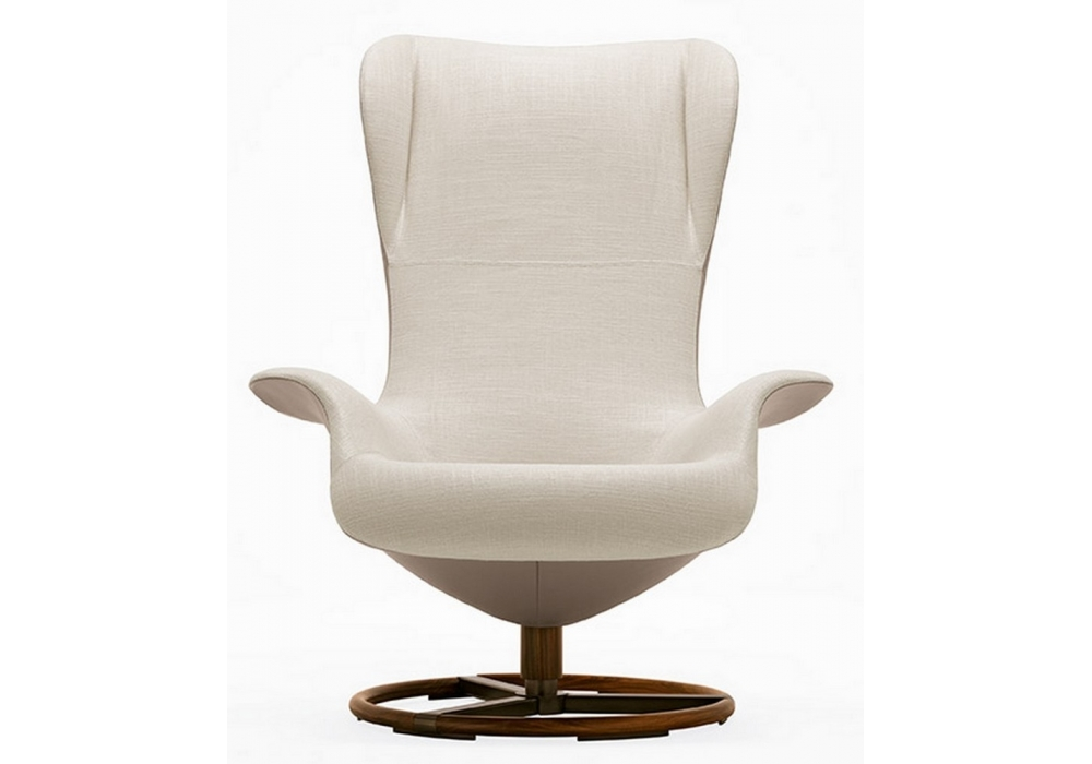 Attirant Tilt Bicolored Swivel Wing Chair Giorgetti
