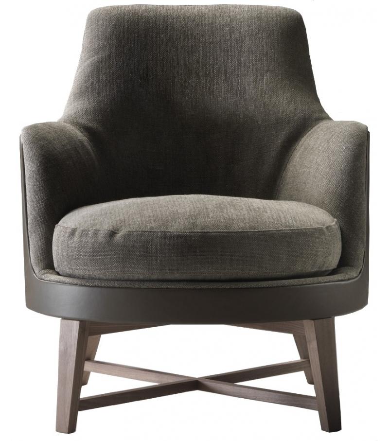 Guscio Soft Wooden Base Armchair Flexform