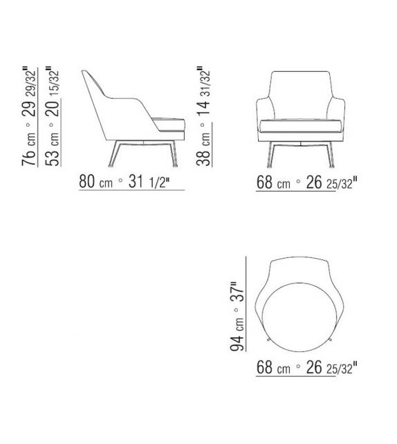 Guscio Soft Metal Base Armchair Flexform
