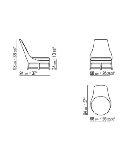 Guscioalto Wooden Base Armchair Flexform