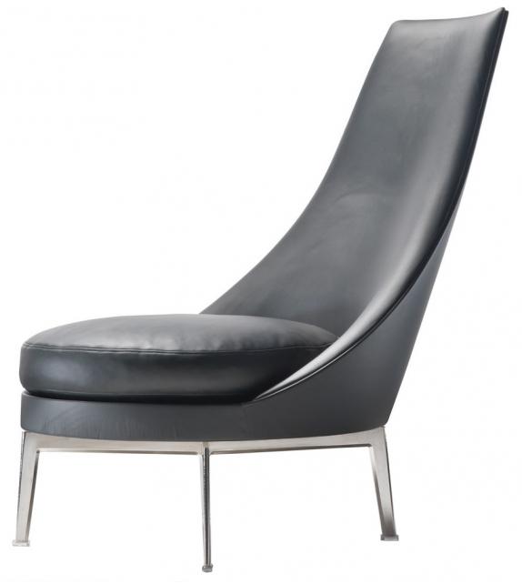 Guscioalto turning metal base armchair flexform milia shop for Chaise longue aluminium