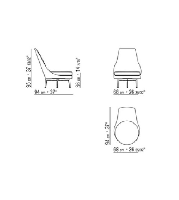 Guscioalto Poltrona Girevole Base In Metallo Flexform