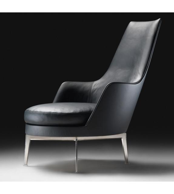 Guscioalto Turning Metal Base Armchair With Armrests Flexform