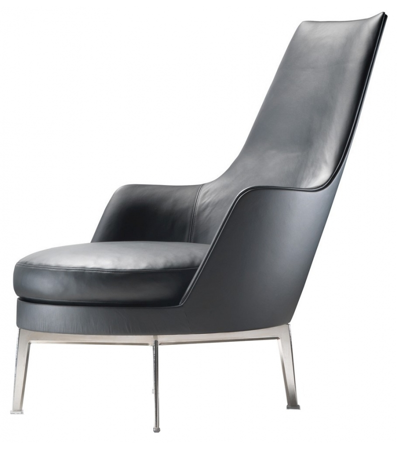 Guscioalto turning metal base armchair with armrests for Chaise longue aluminium