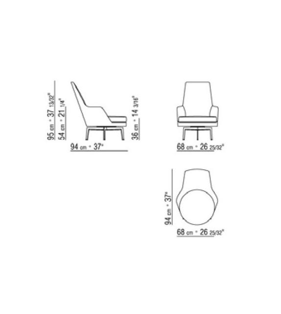 Guscioalto Poltrona Girevole Base In Metallo Con Braccioli Flexform