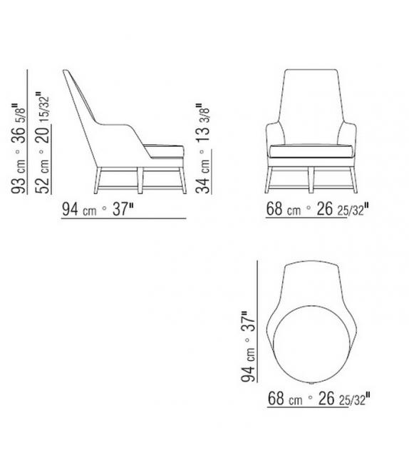 Guscioalto Soft Wooden Base Armchair Flexform