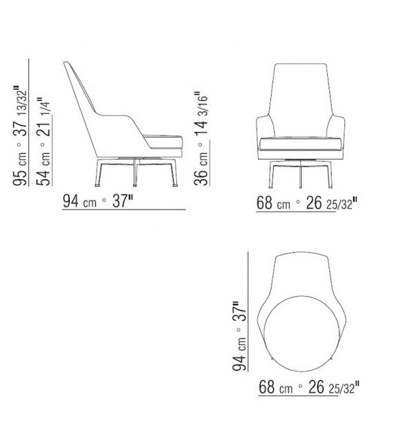 Guscioalto Soft Turning Metal Base Armchair Flexform