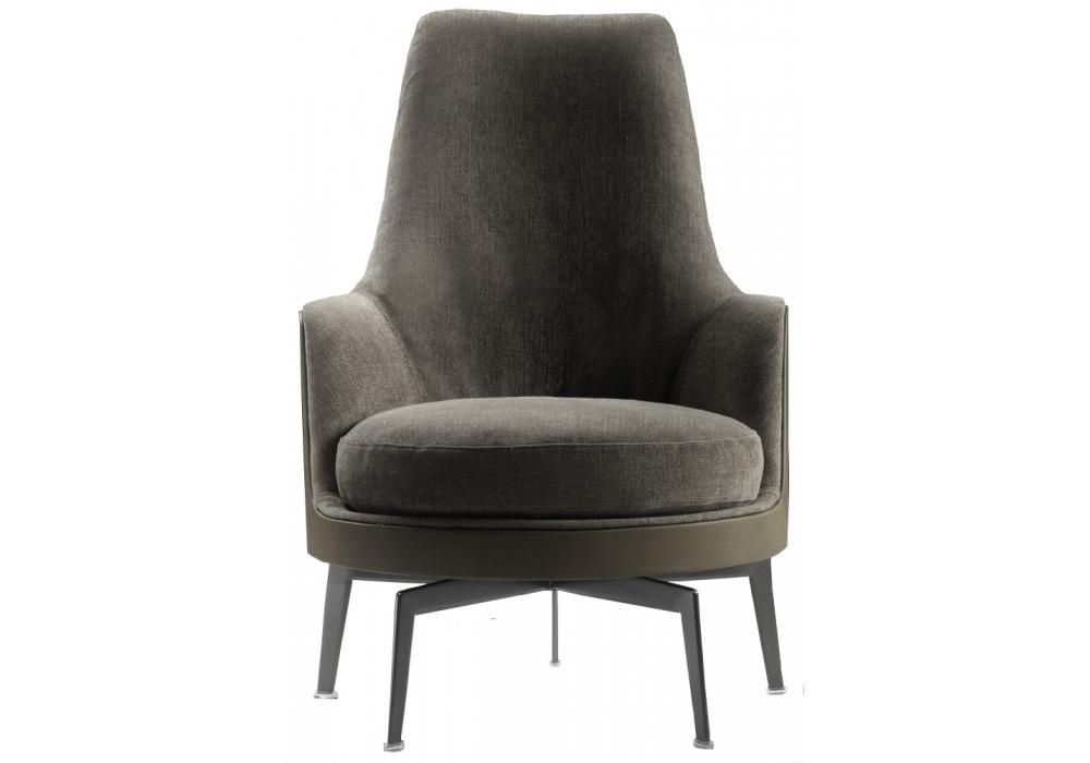 Guscioalto soft turning metal base armchair flexform for Chaise longue aluminium