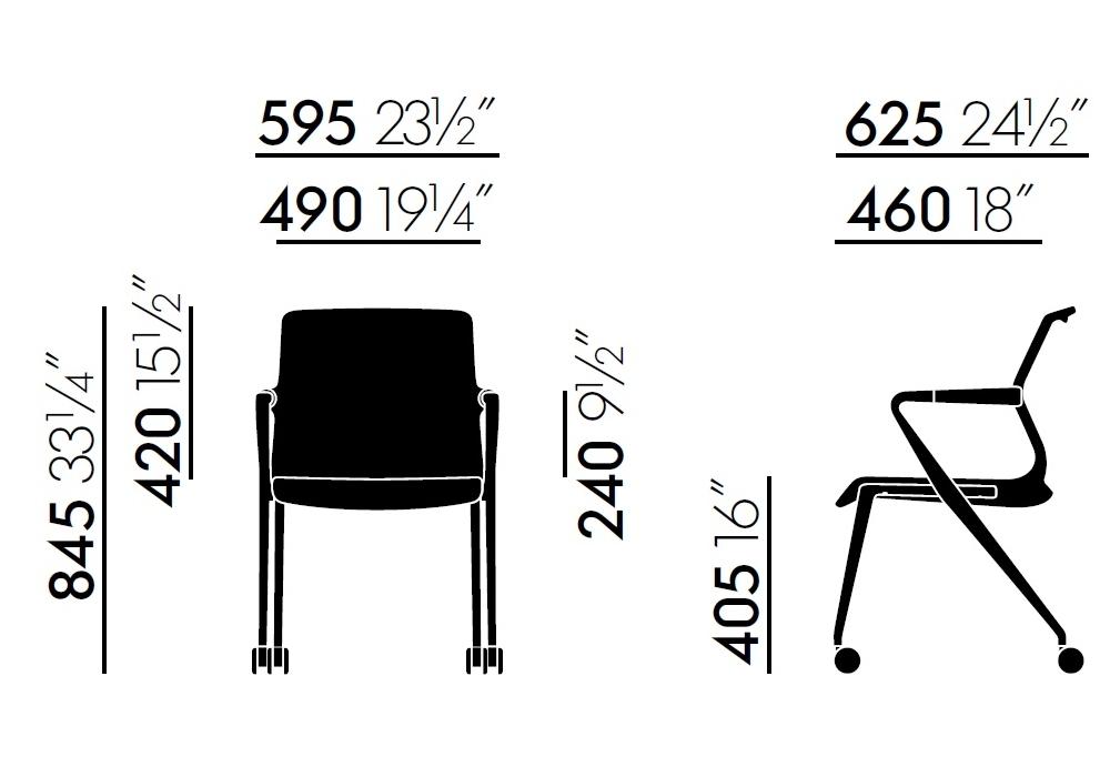 Unix chair stuhl mit vierbeinstuhl auf rollen vitra - Stuhl auf rollen ...