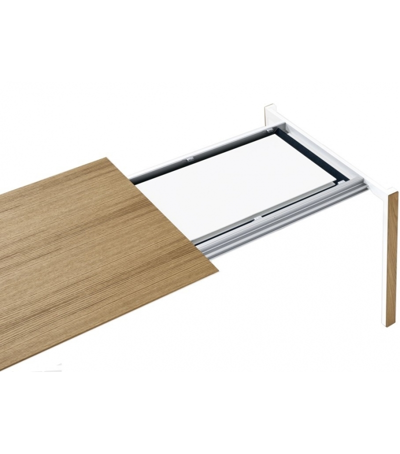Thin k extendable table in wood kristalia milia shop for Table kristalia
