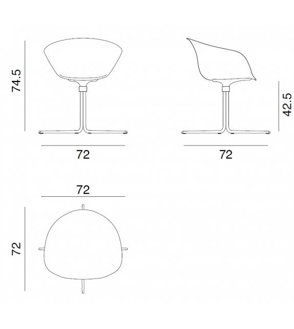 Duna 02 Arper Sessel Auf Drehfuß mit Vierstrahlig