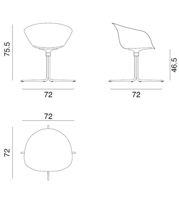 Duna 02 Arper Sessel Auf Drehfuß mit Vierstrahlig & Spiegelpolster