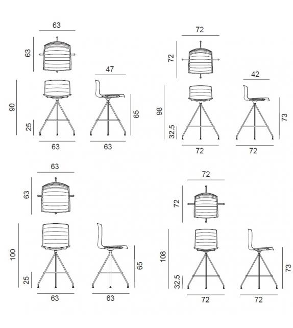 Catifa 46 Arper Taburete Tapizado Con Estructura Giratoria