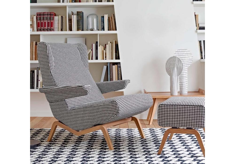 archi ligne roset armchair with wooden base milia shop. Black Bedroom Furniture Sets. Home Design Ideas