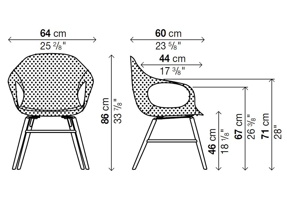 elephant sedia rivestita su base legno kristalia milia shop. Black Bedroom Furniture Sets. Home Design Ideas
