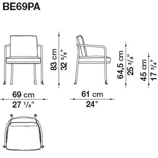 BE69PA_ 69 x 61 x H 83 cm - Hs 64.5 cm