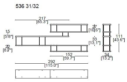 536 3_ 292 x 34 x H 111 cm