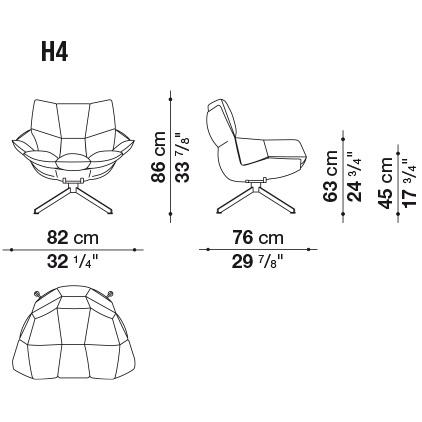 H4_ 82 x 76 x H 86 cm; Hs 45 cm