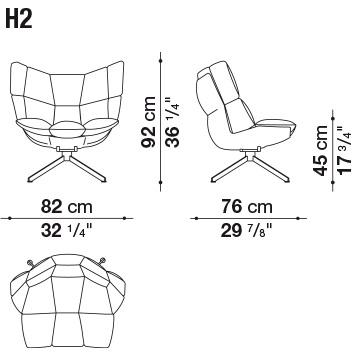 H2_ 82 x 76 x H 92 cm; Hs 45 cm
