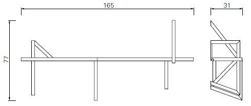 Taidgh D_ 165 x 31 x H 77 cm