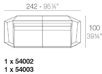 Faz_ 242 x 100 x H 70 cm