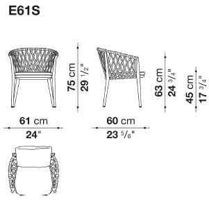 E61S_ 61 x 60 x H 75 cm