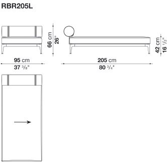 RBR205L_ 95 x 205 x H 66 cm