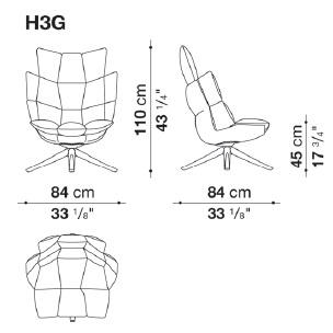 H3G_ 84 x 84 x H 110 cm - Hs 45 cm