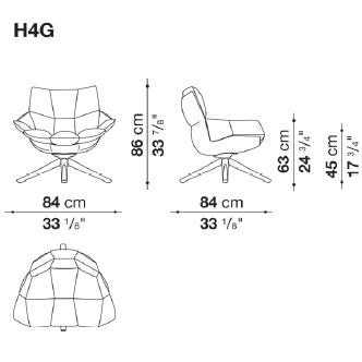 H4G_ 84 x 84 x H 86 cm - Hs 45 cm