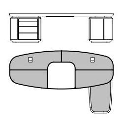 Tycoon_ 270 x 162 x H 74 cm (Con península derecha)