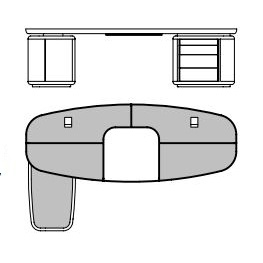 Tycoon_ 270 x 162 x H 74 cm (Con península izquierda)