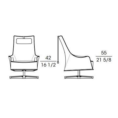 Mobius 63942_ 77 x 88 x H 106 cm (giratorio)
