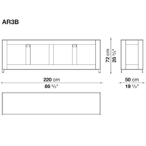AR3B_ 220 x 50 x H 72 cm