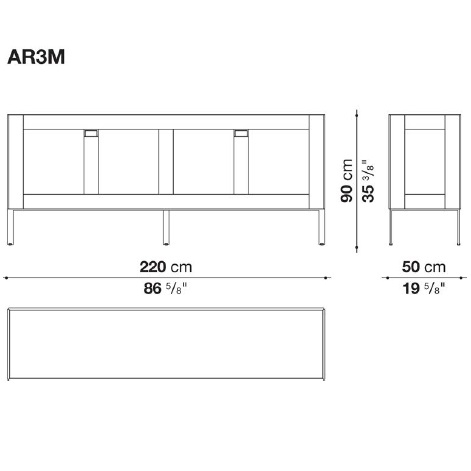 AR3M_ 220 x 50 x H 90 cm