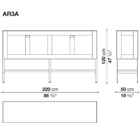 AR3A_ 220 x 50 x H 120 cm