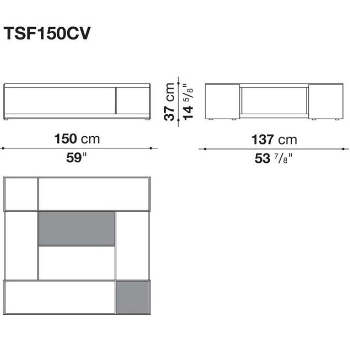 TSF150CV_ 150 x 137 x H 37 cm