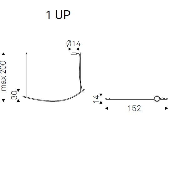 1 UP_ 152 x 14 x Hmax 200 cm
