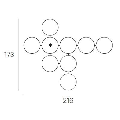 216 x 173 cm (Ø 40 cm)