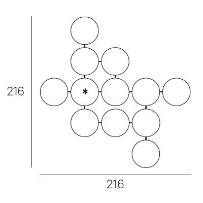 216 x 216 cm (Ø 40 cm)