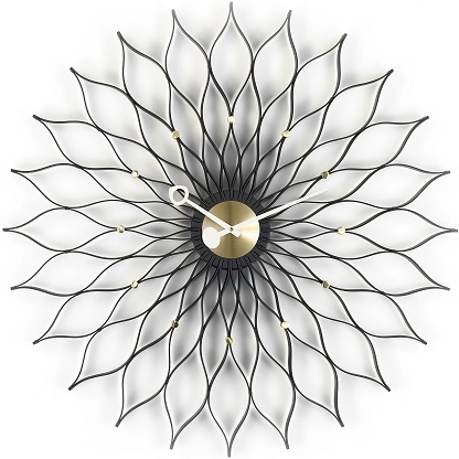 Sunflower Clock _ black ash / brass