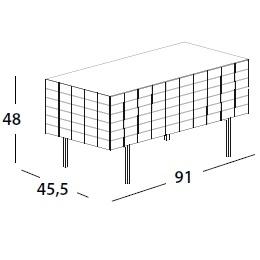 91 x 45.5 x H 48 cm; with flap door & legs