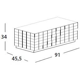 91 x 45.5 x H 34 cm; with flap door & base