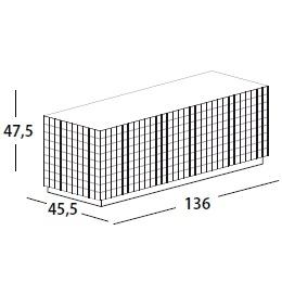 136 x 45.5 x H 47.5 cm; with 3 door & base