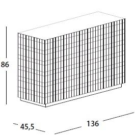 136 x 45.5 x H 86 cm; with 3 door & base