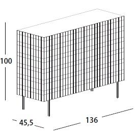136 x 45.5 x H 100 cm; with 3 door & legs