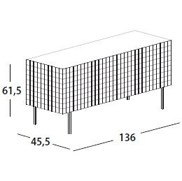 136 x 45.5 x H 61.5 cm; with 3 door & legs