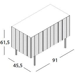 91 x 45.5 x H 61.5 cm; with 2 door & legs