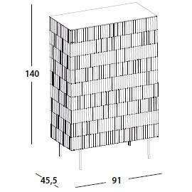 91 x 45.5 x H 140 cm; with 2 door & legs