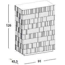 91 x 45.5 x H 126 cm; with 2 door & base