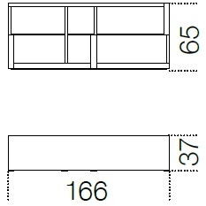 166 x 37 x H 65 cm